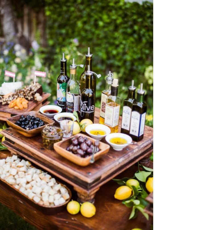 mesa de panes y aceites