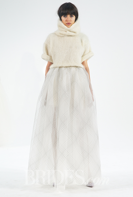 Cropped mohair turtleneck with soft rolled collar and three quarter sleeves over metallic plaid tulle skirt, Houghton