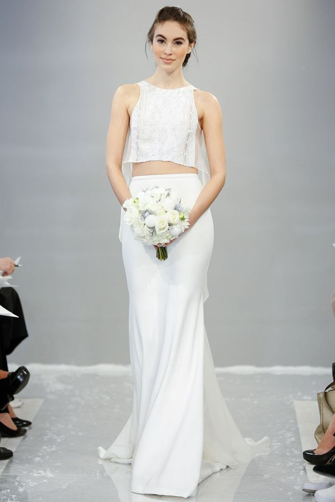 Fall 2015 Wedding Dresses - Best Wedding Gowns At Bridal Fashion Week - Theia crop top wedding dress - perfect for a beach wedding