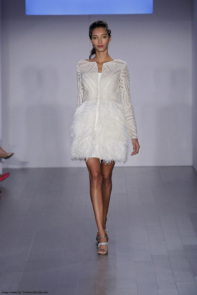 Jim-Hjelm-Fall-2015-strapless-knee-length-A-line-wedding-dress-with-long-sleeves-jacket-and-feather-skirt