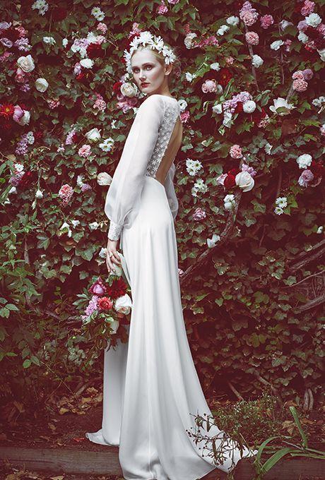 Trend- Flouncy Sleeves. %22Natasha%22 open-back silk cady A-line wedding dress with sheer flounce long-sleeves, Honor for Stone Fox Bride
