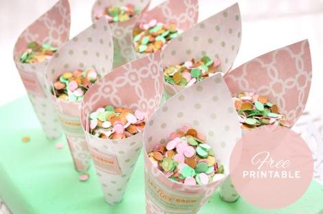imprimible conos confetti boda